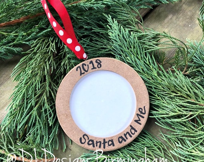 Santa and Me picture frame ornament wood handletteted