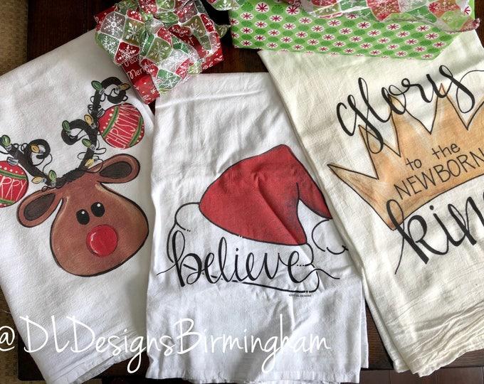 Christmas santa hat and glory to the newborn king flour sack tea towel dish towel