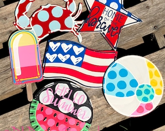 Summer door hanger attachment patriotic, 4th of July, star, flag, watermelon, popsicle, crab, beach ball