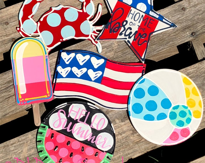 Summer door hanger attachment patriotic, 4th of July, star, flag, watermelon, popsicle, crab, beach ball interchangeable