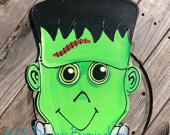 Frankenstein Halloween Door hanger wood door hanger hand painted