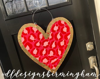 Leopard print Heart Door Hanger personalized handlettered wild about you