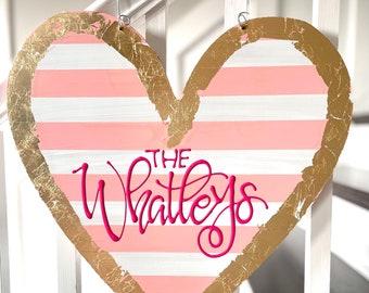 Valentine's Day Heart Door Hanger personalized handlettered
