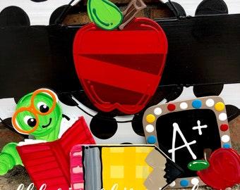Back to school apple attachments pencil chalkboard bookworm for wreath door hanger hand lettered interchangeable