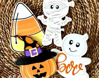 Halloween attachments for wreath door hanger candy corn, ghost, mummy, jack-o-lantern happy halloween