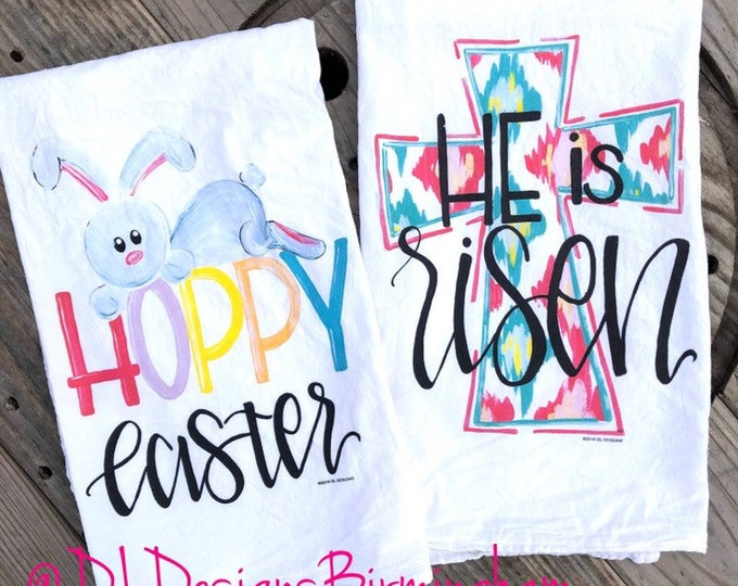 Easter flour sack tea towel hand lettering he is risen hoppy easter cross with ikat