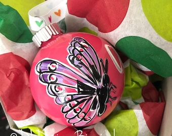 Butterfly ornament glass handpainted pink purple hand lettered