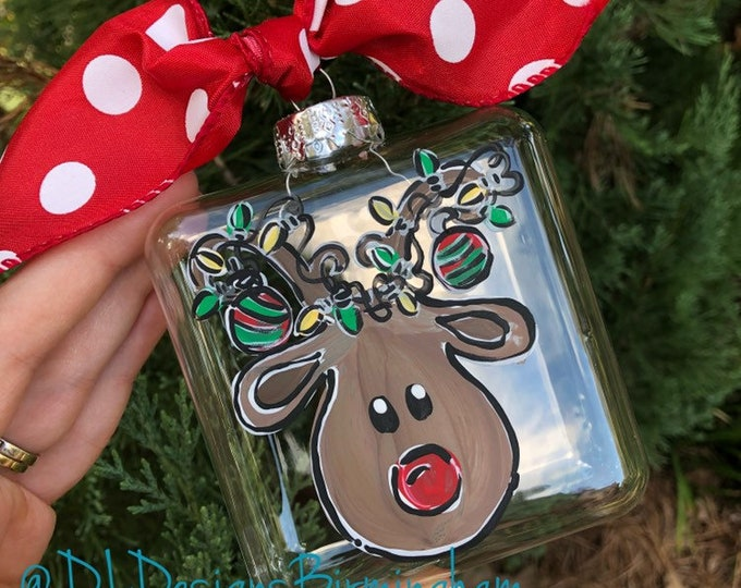 Rudolph ornament glass handpainted tangled lights