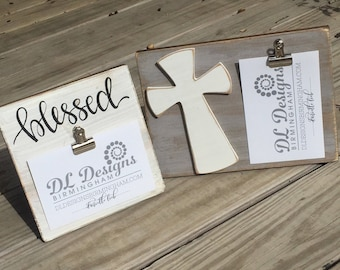 Blessed or cross picture frame farmhouse white with black lettering