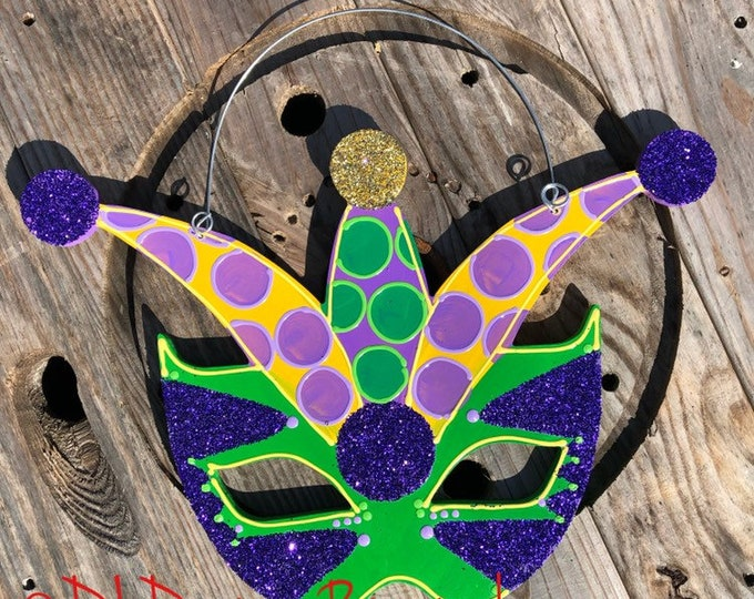 Mardi Gras Door Hanger masquerade mask jester hat green purple yellow