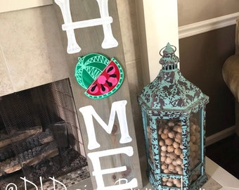 Home sign for porch hand lettered USA watermelon attachment interchangeable