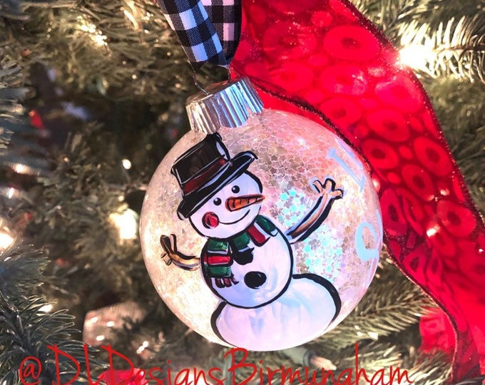 Snowman ornament glass handpainted silver or white star let it snow