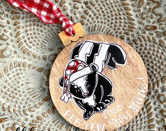 2020 ornament skunk wood hand painted hand lettering