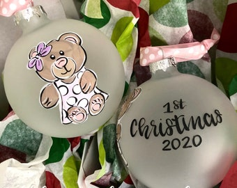 First christmas ornament girl teddy bear glass hand painted