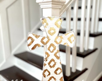 Cross door hanger white with gold  farmhouse