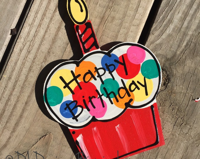 Happy birthday cupcake door hanger attachments