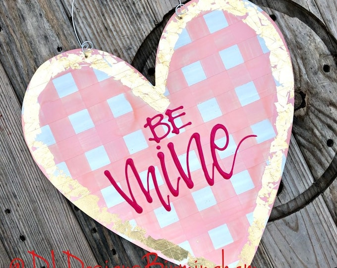 Heart Door Hanger valentine's day personalized handlettered gingham be mine pink gold