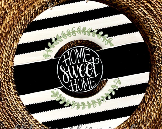 Featured listing image: Black and white stripe wreath door hanger with stripes and hand lettering interchangeable home sweet home green floral black and white