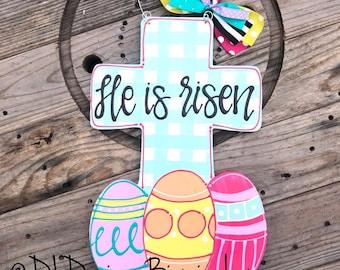 Easter door hanger He is Risen Easter Cross Door hanger bright gingham