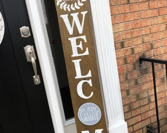 Welcome sign for porch handlettered attachment interchangeable last name