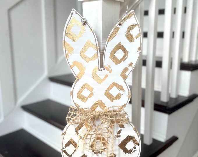 Featured listing image: Easter bunny door hanger white with gold  farmhouse
