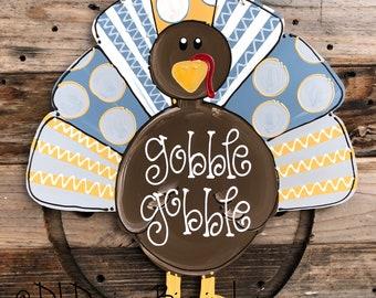 Neutral turkey thanksgiving door hanger