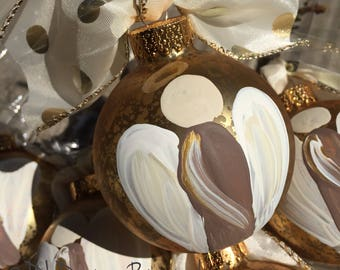 angel ornament glass handpainted