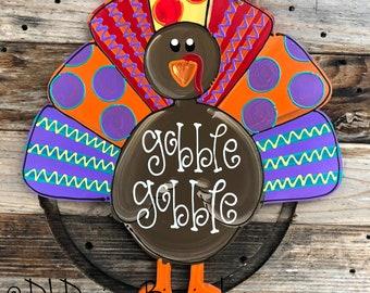 colorful turkey thanksgiving door hanger