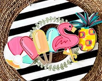 Summer door hanger attachment popsicle, flamingo, beach ball, pineapple interchangeable