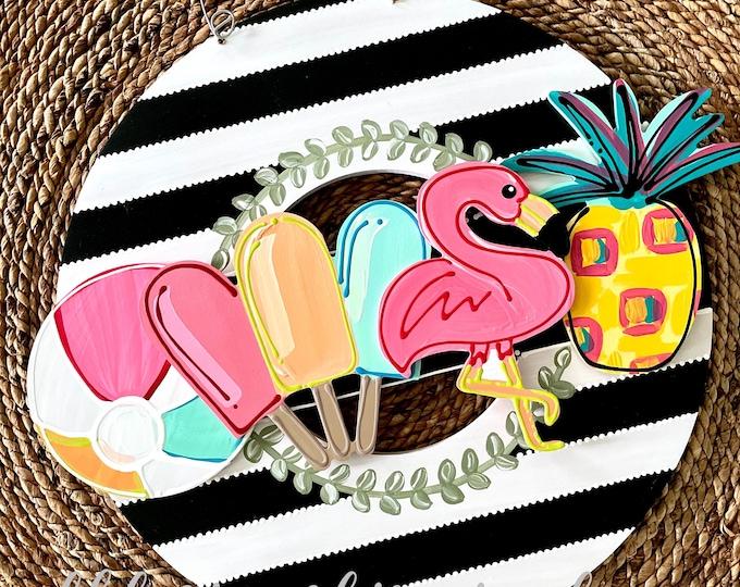 Featured listing image: Summer door hanger attachment popsicle, flamingo, beach ball, pineapple interchangeable