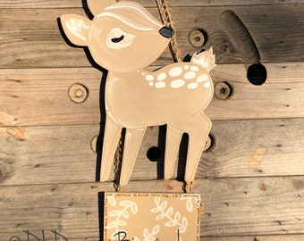 Baby deer hospital door hanger baby nursery art gender neutral or boy or girl twins