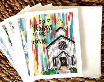 Church painting notecards how great thou art handpainted hand lettered original it is well great is thy faithfulness set of 5