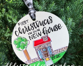 new house ornament first christmas in new house wood ornament handpainted hand lettered