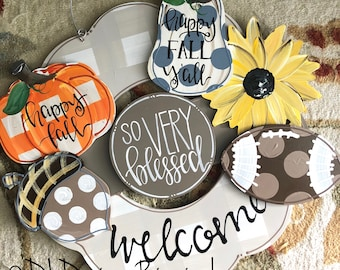 Fall attachments for wreath door hanger pumpkin, happy fall, acorn, sunflower