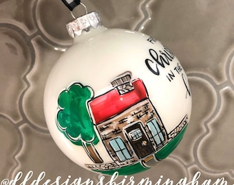 new house ornament first christmas in new house glass ornament handpainted hand lettered