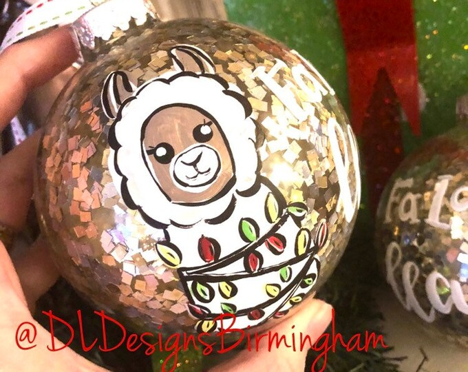 Llama glitter ornament silver gold christmas lights
