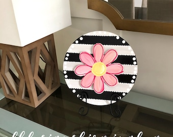 Interchangeable circle with stripes and hand lettering interchangeable black and white home decor