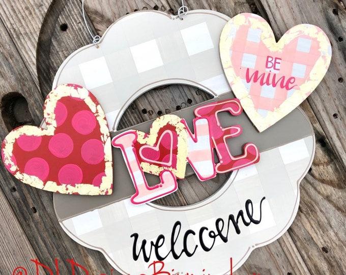 Valentine's Day  door hanger attachments heart, love, stripe, polka dot