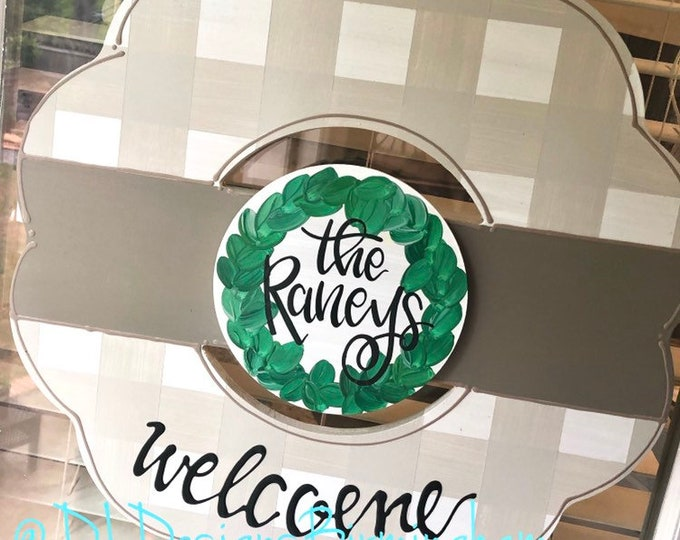 Personalized neutral wreath door hanger gingham and hand lettering wedding gift interchangeable