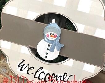 Snowman attachments for wreath door hanger winter
