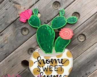 cactus door hanger personalized home sweet home