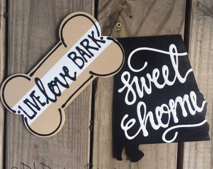 Alabama state and dog bone door hanger attachments