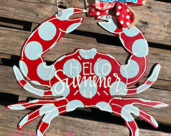 Crab door hanger with handlettering hello summer or personalized