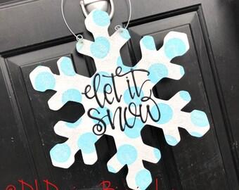 Snowflake door hanger wood hand lettered polka dot glitter