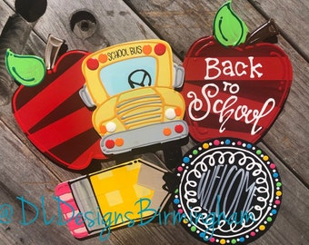 Back to school bus apple attachments for wreath door hanger hand lettered interchangeable