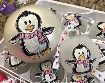 Penguin ornament girl personalized handpainted hand lettered