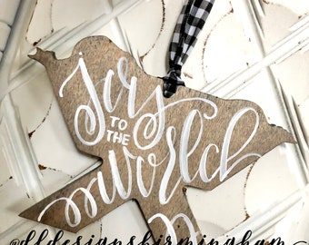 Joy to the world ornament wood hand-painted nativity baby Jesus hand lettered