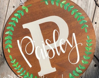 Last name door hanger hand lettering stained wood greenery
