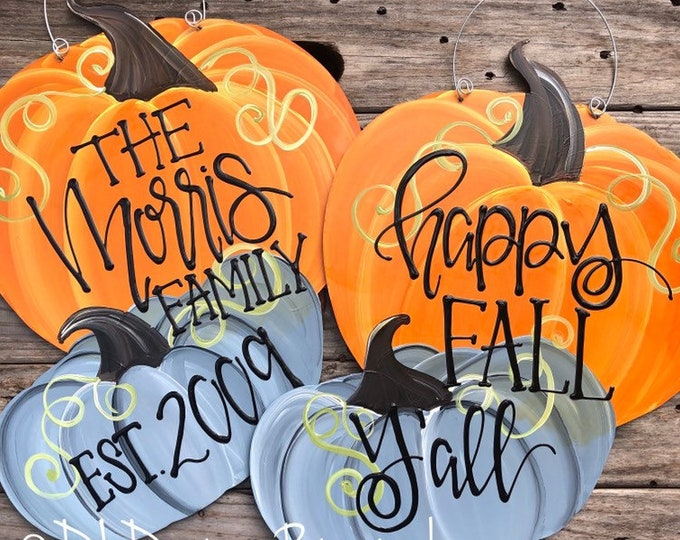 pumpkin door hanger with happy fall y'all or give thanks personalized double pumpkin handlettered