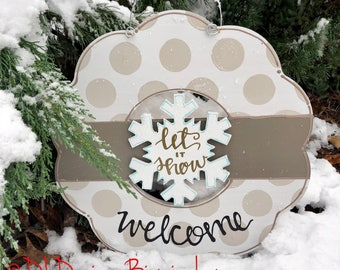 Snowflake let it snow door hanger attachment